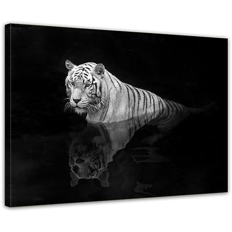 Bilderdepot24 Bastidor lienzo Tigre blanco XXL