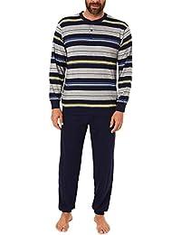 f53551c59e Herren Pyjama Schlafanzug lang mit Bündchen und Knopfleiste in  Streifenoptik - 101 90 752