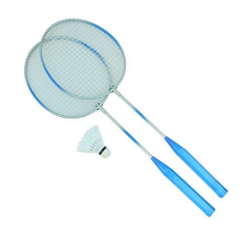 Bid Buy Direct® Premium Qualität Set Von Badminton Schläger und Federball. Leicht & Stabil | für Profis & Anfänger–komplett-Set in a Net., blau