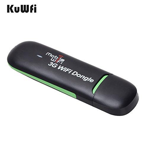 KuWFi Unlocked 7.2Mbps 3G USB Wifi Modem Wireless Router Auto Wifi Dongle mit Sim Slot Unterstützung 3G Netzwerk Arbeit Innen-und Außenbereich (SIM-Karte nicht inklusive) Ladegerät von Power Bank / PC / Netzteil