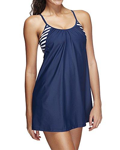 Plus Size Damen 2-Teilig große größen Badeanzug Bademode Badekleider Badekleid Tankini mit Röckchen Dark Blue