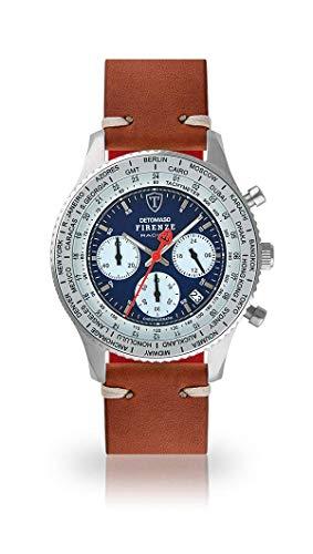 DETOMASO Firenze Montre Hommes Racing Chronographe Chronographe analogique Quartz Marron Vintage Bracelet Cuir Bleu Cadran Bleu DT1069-A-786