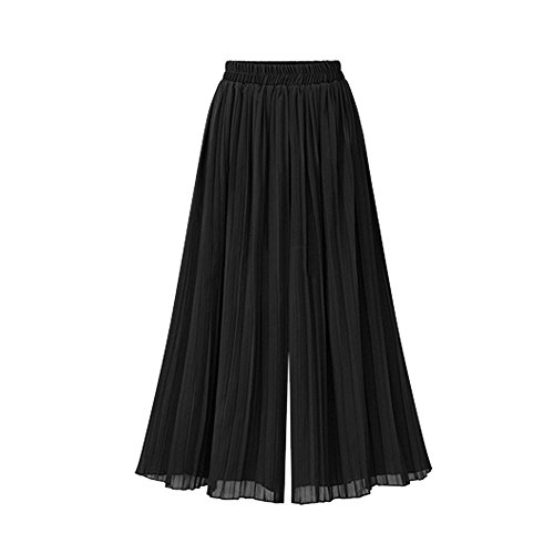 FRAUIT Damen Plus Size Chiffon Culottes Pluderhosen Hose Mit Weitem Bein Casual Hosen Mode Elegant Wunderschön Streetwear