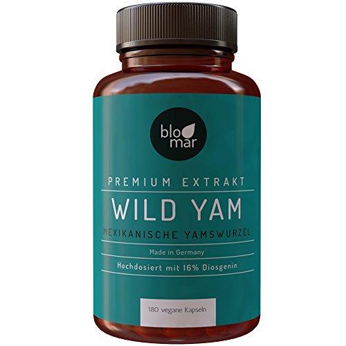 Yamswurzel Kapseln · Mexican Wild Yam · hochdosierter Premium Extrakt mind. 16{ee980a313123fdeb7f74ec461e64e7b0a8bb3fa1dd7c8fbdb17ac7f2468c0cab} Diosgenin · 180 Kapseln á 450mg · Made in Germany