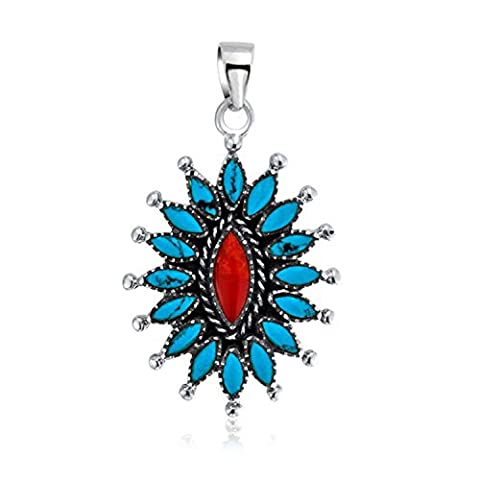 Bling Jewelry Sterling Silber rekonstituierte Türkis gefärbter Koralle Anhänger Blume