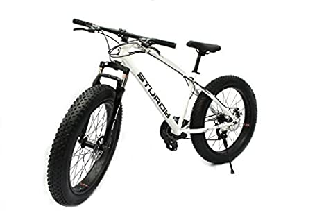 Sturdy Bike Fat Mountain Bike With 26X4 Inch Tyres - (White)