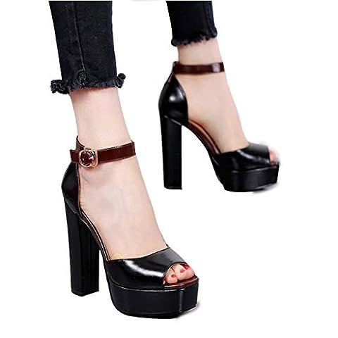 L'Europe et les États-Unis Summer Buckle Sandals Black High Heels ( Couleur : Noir , taille : 36 )