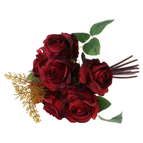 JimTw-FR Un Bouquet De Fleur De Rose Bricolage 7 Chefs Artificiel Bouquet Salon Home Decoration Mariage Déco Plastique Soie +