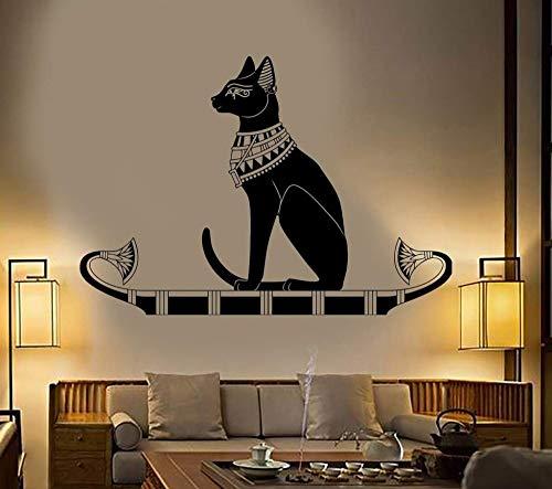 Wand Tier Wandtattoo Aufkleber Schlafzimmer Dekor Alten Ägypten Ägyptischen Katze Poster Vinyl Kunst Removeable Wandbild 82 * 57 cm -