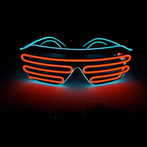 LED-Glas-Partei, Standardsteuer-Neon-El-Draht LED leuchten bunten Glühen LED-Glas-Rahmen-blinkendes helles Brillen-Brillen für Weihnachten Halloween-wilde Partei, Tanz-Ball, verrückte Parteien auf (Blau Orange) (Coole Schnelle Und Einfache Halloween Kostüme)