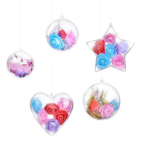 LAEMILIA 25 Pièces Boule Transparente à remplir Noël Suspension Sapin Ornements Etoiles Coeur Décoration Anniversaire Mariage25p diamètre 4-8 cm