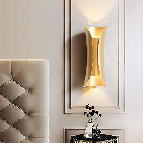 Moderner Schminkspiegel (Zzyff Villa Moderner Gold Schlafzimmer Nachtwandlampe TV Hintergrund Dekoratives Licht Gang Korridor Treppe Nordic Einfache Wohnzimmer Eingangsspiegel Vorderwandlampe 13x34cm Dauerhaft)