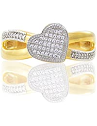 Silver Dew Jewelry American Diamond 925 Sterling Silver Heart Ring For Women's Girls