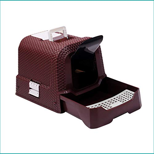 Welhome Petlife Cat Toilet, Cat Litter Box Jumbo, Hooded Cat Litter Box, Litter Box, Rattan Litter Tray, Fully geschlossenen Cat Litter Pan, for Cat oder Dog Use Pots,Brown