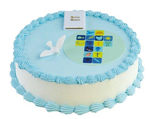 Cake Company Torten-Deko Kommunion Junge mit Bibel und Taube aus Kunststoff   Kuchen-Deko mit Fondant-Aufleger in 10 cm   Alternative zur traditionellen Kommunion-Figur   ideal für Motiv-Torten