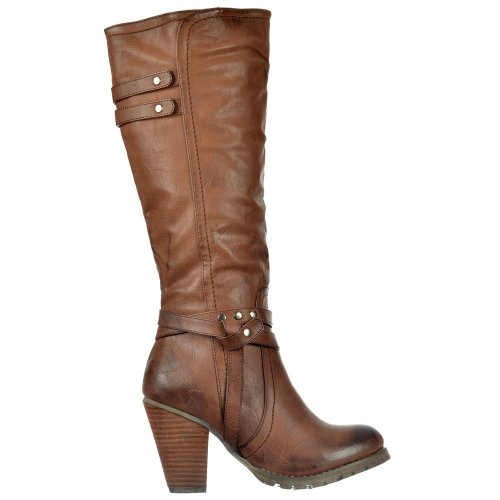 onlineshoe-womens-ladies-tall-knee-high-biker-boots-with-straps-and-heel-uk5-eu38-us7-au6-brown