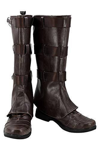 RedJade Captain America Stiefel Karneval Schuhe Cosplay Boots Herren Braun ()