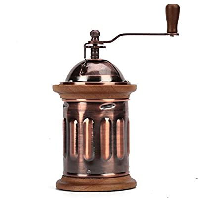 3E Home 23-2100 Hand Crank Manual Stainless Steel Burr Coffee Grinder Mill, Antique Copper Body with Solid Wood Trim, 9cm x 9cm x 22cm, Brown