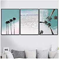 Juabc 3 Pieces Coconut Palm Tree Pink Beach Sea Umbrella, Wall Art Canvas, Painting Posters and Prints Wall Pictures for Living Room Decor-60X80 X3 No Frame