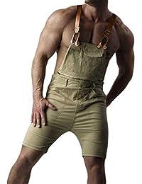 Jitong Distressed Peto Vaquero para Hombre Pantalones Cortos de Mezclilla Verano Mono Jeans de Trabajo
