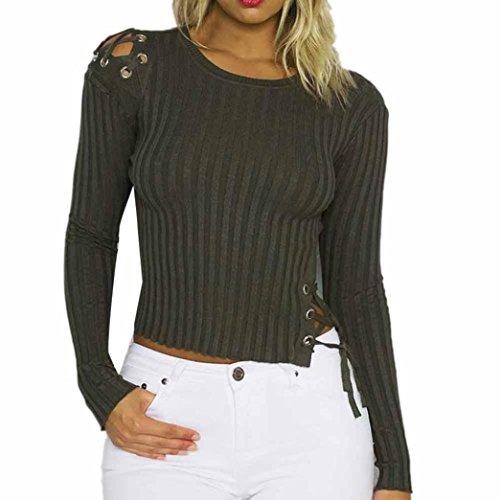 Longra Damen Mode Oberteil Sweatshirt Elegante Kleider Damen Slim Fit Pullover Stricken Verband Pullovershirt Langarmshirt Bluse Tops (Army green, M) (Chiffon-camisole Stricken)
