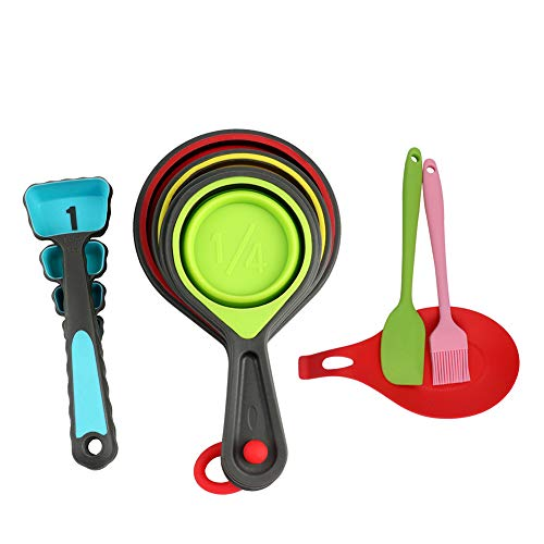 Queta Silicone Measuring Cup set Kitchen Supply Folding Multi-color measuring spoon Set baking utensils 11-piece set