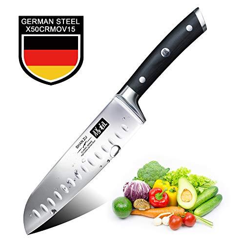 Cuchillo Santoku Japones, SHAN ZU Cuchillos de Cocina Profesionales 18cm, 7 ''Cuchillo Chef de Acero Inoxidable Alemán de Alto Carbono, Cuchillos Cocinero para Frutas, Verduras, Carne