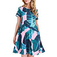 Women's Pink Palm Leaf Print Fit and Flare Dress with Pockets - Casual Summer Beach Sundress Size Large