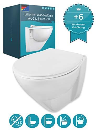 Calmwaters erhöhtes Wand-WC mit 6 cm Erhöhung im Set mit WC-Sitz Jarron 2.0, Tiefspüler, Hygiene-Beschichtung, Wand-Toilette, Duroplast-Deckel mit Soft Close, Fast-Fix Schnellbefestigung 08AB5563
