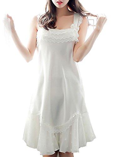 Cheerlife Damen Ärmellos Nachthemd Nachtwäsche Negligee aus Satin mit Spizte Volant Lingerie Nachtkleid Tops Weiß (Volant Nachthemd)