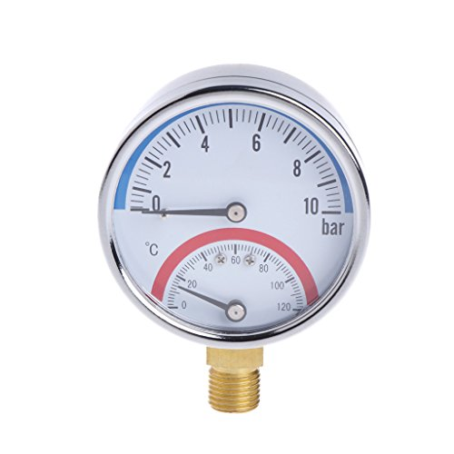 Jenor Temperatur-Manometer, 10 bar, G1/4 Gewinde, 2 in 1 Thermometer -