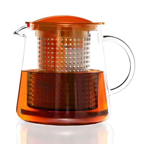 Finum TEA CONTROL Teekanne aus Glas mit Brühkontrolle - Teebereiter mit Dauerfilter - Teezubereiter 0,8 Liter - Glaskanne für Tee mit Deckel Funktion in Orange - Copolyester-glas