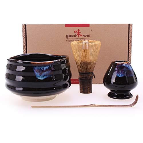 Goodwei Japanisches Matcha Komplett-Set mit hochwertiger Teeschale (Kuro Black, 80)