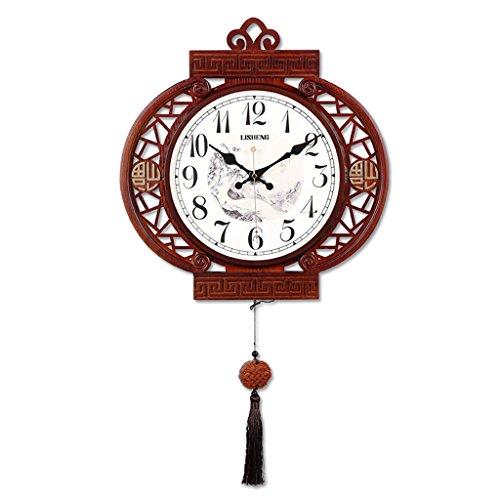 LINA Nouveau Style Chinois Salon en Bois Massif Creux Horloge Murale Horloge À Quartz Décoratif Style Chinois Rétro Mode Gland Horloge Chambre Mur Mute Cartes