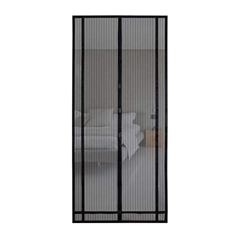 Sekey 220x100 cm Tendina magnetica per zanzariera, ideale per porte da balcone, cantine, terrazze (ritagliabile in altezza e larghezza), facile da montare, colore: Nero