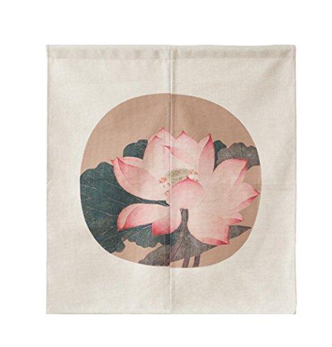Chino Lotus Impresión Puerta cortina clásico Acuarela biombos algodón Lino Partition cortina casa decorativa pared colgantes Veranda Dormitorio Cuarto de baño, multicolor, 33.5 * 47in
