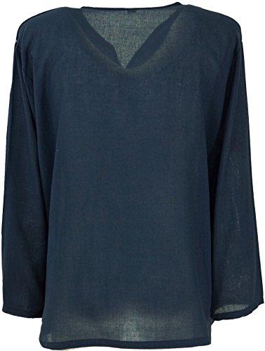 Guru-Shop Yoga Hemd, Goa Hemd, Herren, Baumwolle, Männerhemden Alternative Bekleidung Dunkelblau
