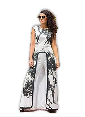 Nikita Mhaisalkar Black & White Tree Of Life Print Jacket with Button Embellishment with Neoprene Pants