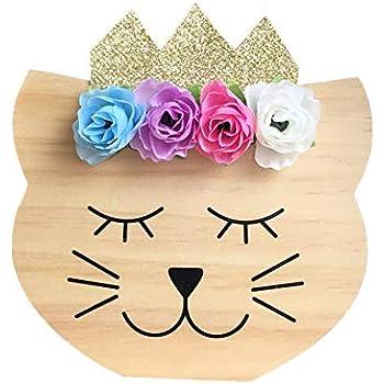 Taille unique rose Uniqueaur Ornement en forme de cube au style nordique avec motif de cils de paillettes pour d/écoration de chambre denfant Bois dense