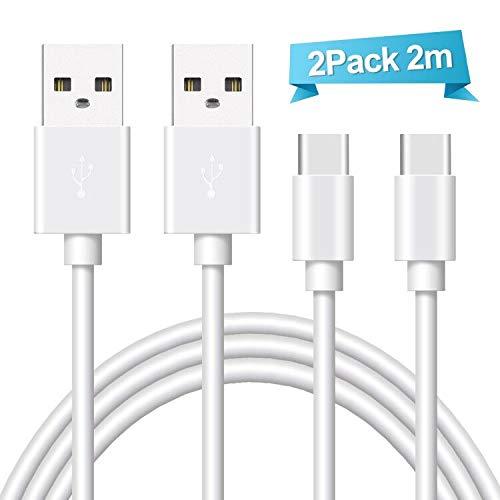 Ulinek 2Pack 2m Zertifiziert USB C Kabel auf USB 2.0, Typ C Ladekabel Nylon für Samsung Galaxy S9/S9 Plus/S8/S8+/Note 8/A5 A3 2017,Huawei P10,HTC 10,Lumia 950XL,Sony Xperia XZ (Weiß) Weiß-usb-usb-kabel