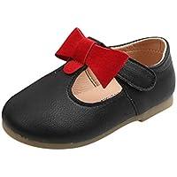 BaojunHT Zapatos de Piel con Lazo para niñas Antideslizantes con Suela Suave y Suela Plana Mary Jane Sandalias de Boda