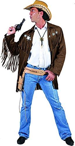 Kostüm Jacke mit Fransen an den Ärmeln für Herren, L, Schwarz ()