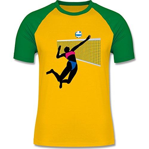 Volleyball - Beachvolleyballspielerin Netz Ball - zweifarbiges Baseballshirt für Männer Gelb/Grün