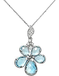 Naava Women's 9 ct White Gold 4.00ct Shades of Blue Topaz and Diamond Flower Pendant with Chain Necklace of 40 cm