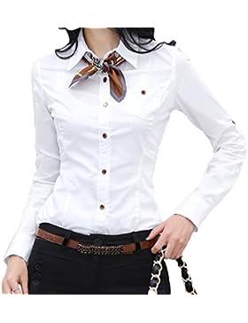 Nonbrand–invierno oficina camisa con botones Blusa Manga Larga para algodón camisas Carrera Tops blusa de sábana...
