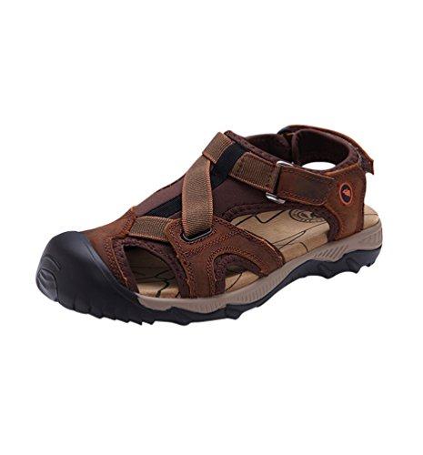 Yiiquan sandali in pu pelle da uomo comodi da indossare sandali da spiaggia resistenti e antiscivolo scarpe marrone scuro 44