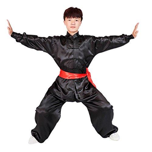 KINDOYO Kinder Erwachsene Unisex Langarm Kampfsport Tai Chi Anzug Kung Fu Darbietungen Tanzkostüme, Schwarz