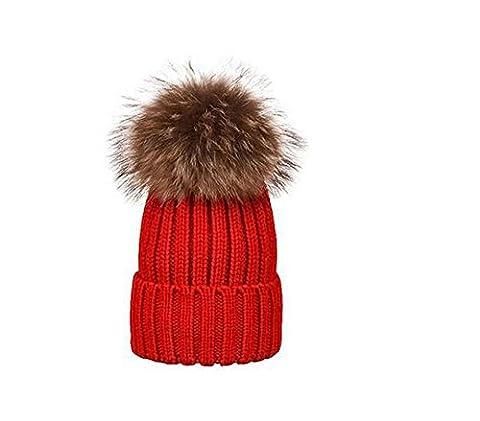 1pcs tendance Parent-child Hiver chaud Crochet Knit Chapeau–amovible Pom Pom Chapeau Bonnet Ski Cap, Red