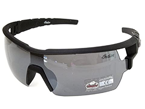 Indian Sunglasses Black Visor Shield Mens Wraparound Mirror Lens Styling