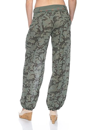 1705 Damen Haremshose Camouflage/Uni mit Bindegürtel Oliv